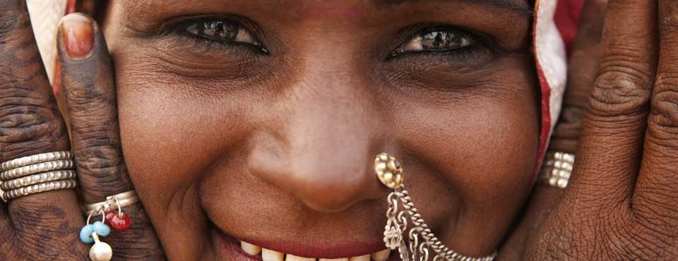 A close up of a happy woman