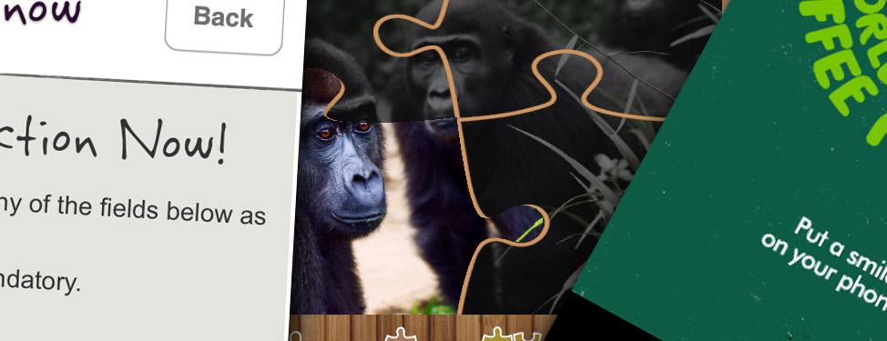 Various charity app screenshots