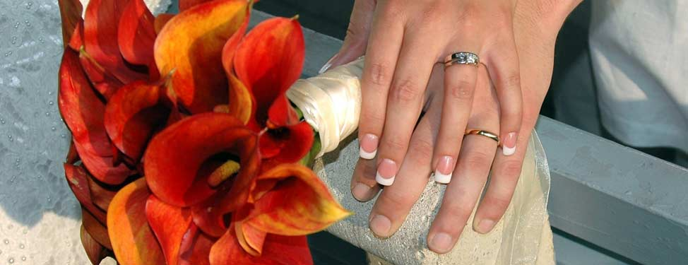 Rings on the fingers of newlyweds