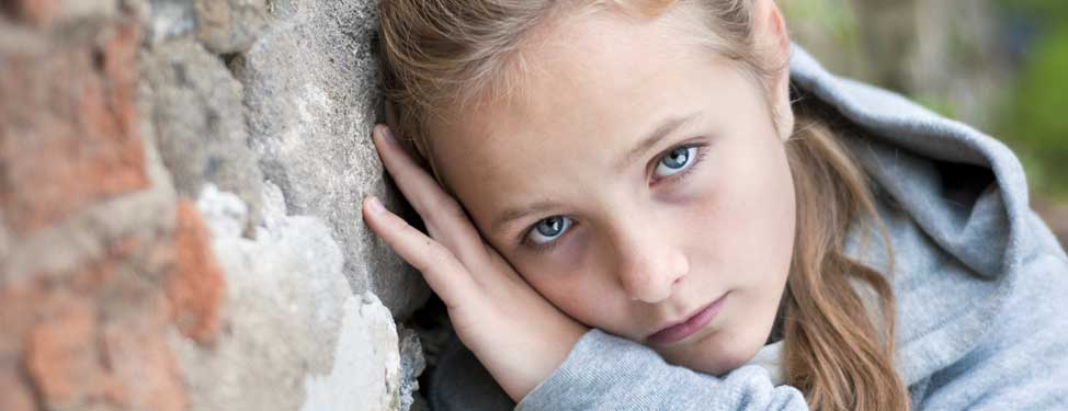 A child looks sad