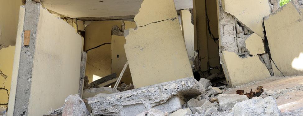 House damaged by an earthquake