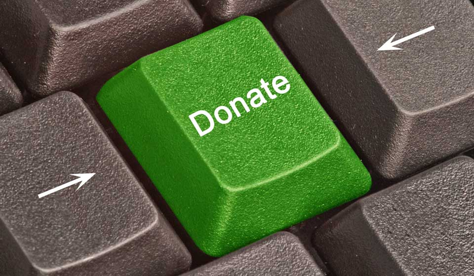 Donate button on a computer keyboard